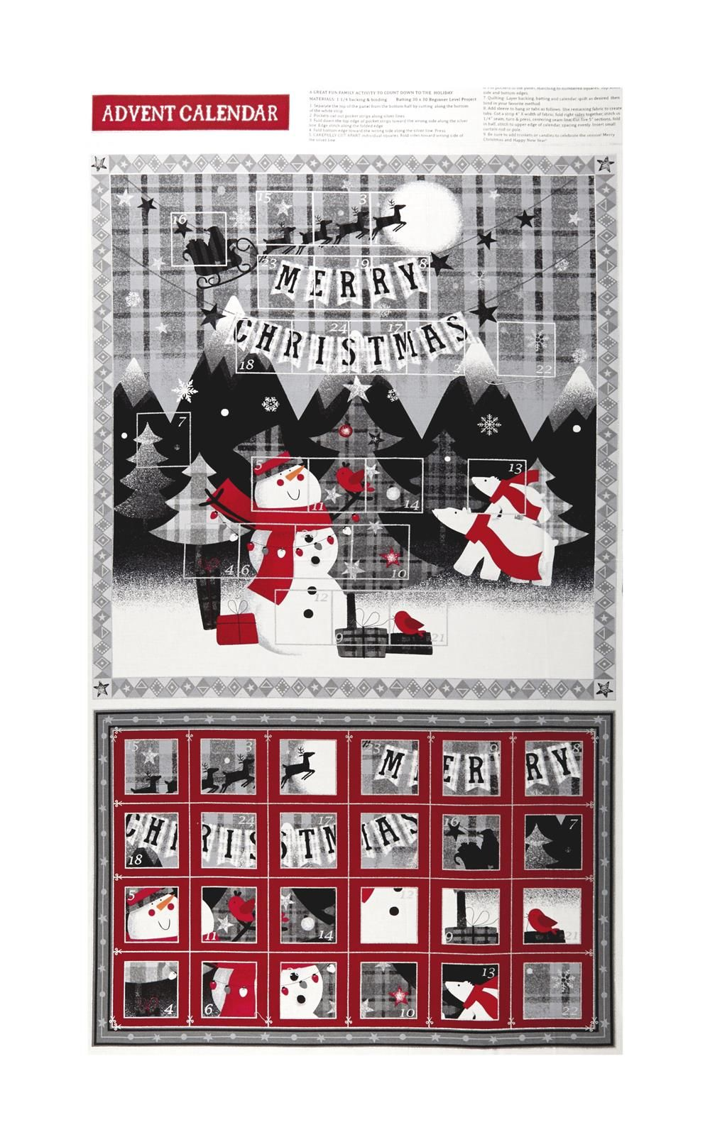 Red Grey Christmas Advent Calendar 24 Panel Metallic Grey Red From Fabricdotcom Designed By Paint Brush Studio Fabrics For Fabri Quilt This Cotton Print P