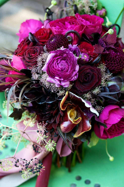 Stunning Wedding Bouquet Featuring Fuchsia English Garden