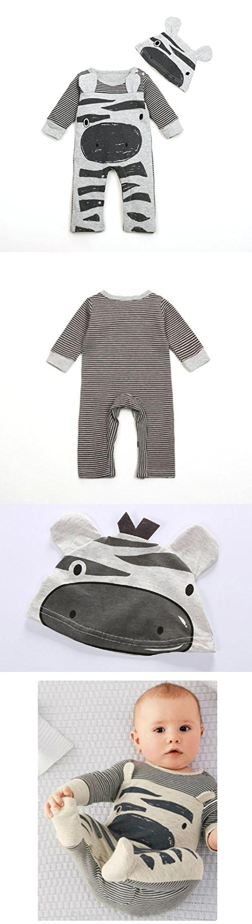 Efaster(TM) Infant Baby Boys Girls Romper+Hat Jumpsuit Bodysuit Clothes Outfit (0-6M, Gray)