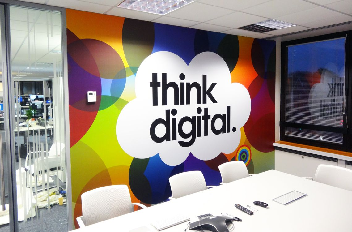 Creative office branding using wall graphics from vinyl for Wallpaper design for office wall