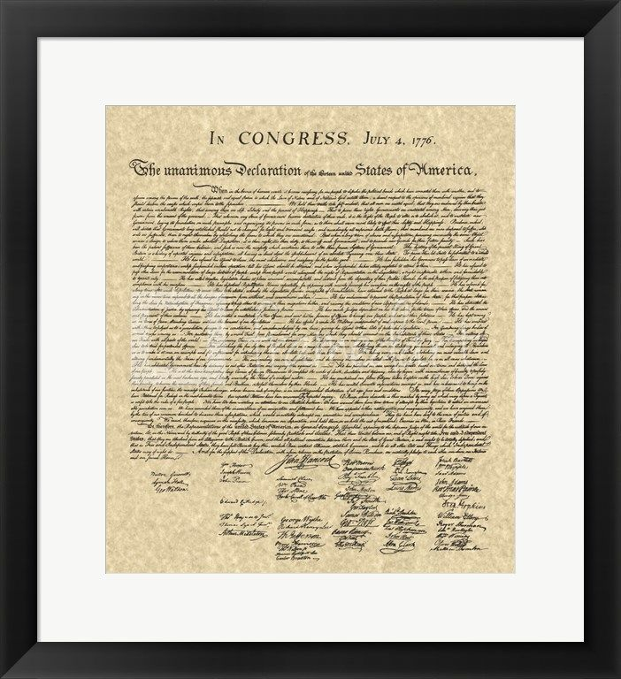Framed Declaration of Independence Khaki Artwork by Unknown at ...