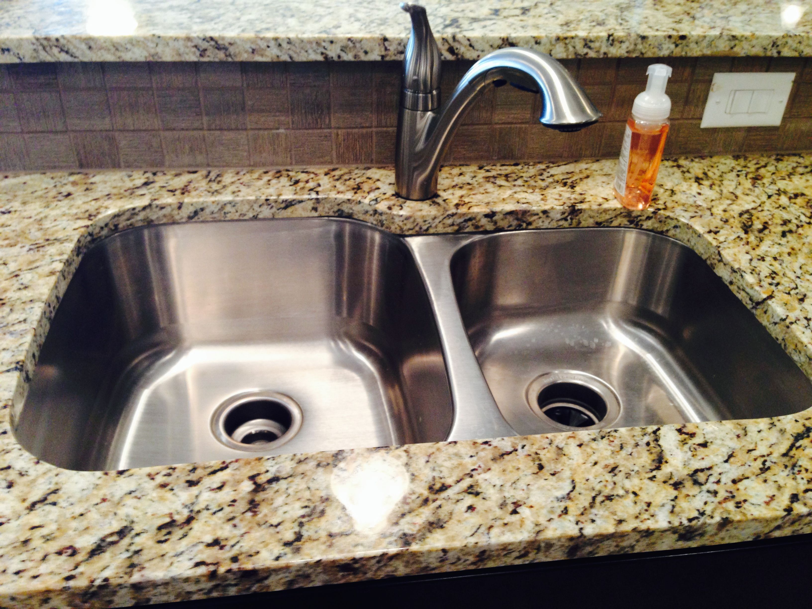 60/40 Stainless Steel Undermount Sink With Granite Countertop, Ceramic Tile  Backsplash And Moen