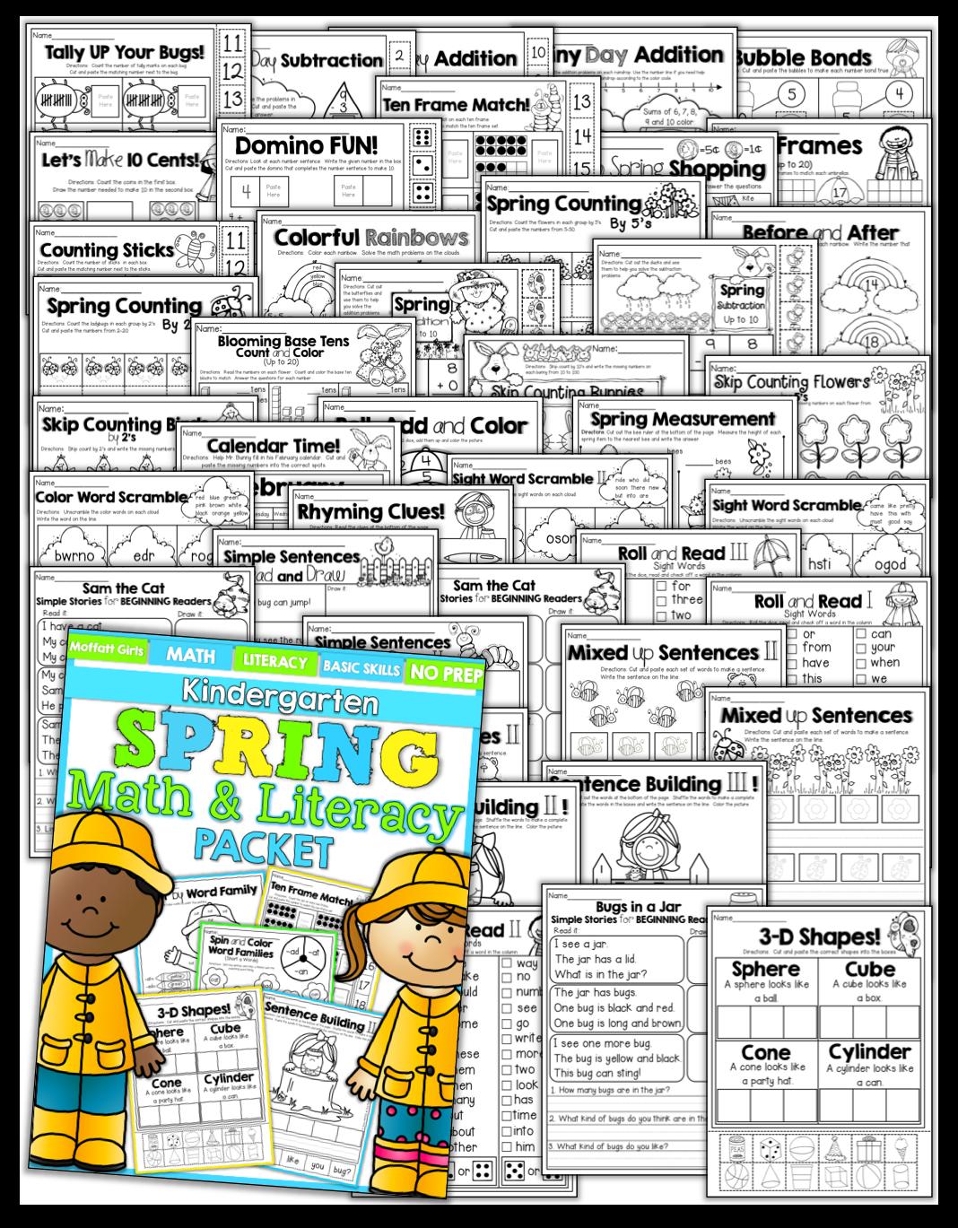 Spring Math And Literacy Packet Kindergarten
