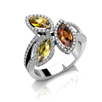 'Spice' smokey quartz and citrine ring by Cellini