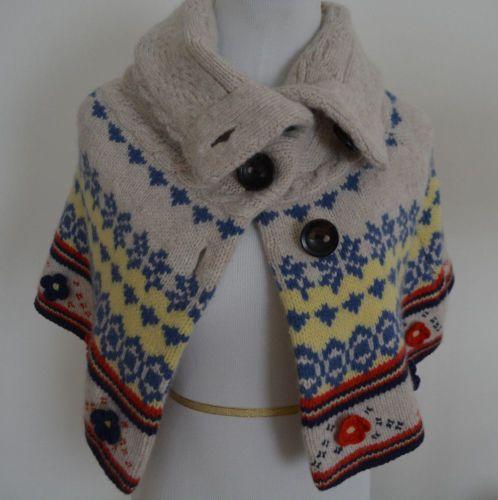 Moth-Anthropologie-Wool-Fairisle-Capelet-Knit-Sweater-Poncho-S-Rare