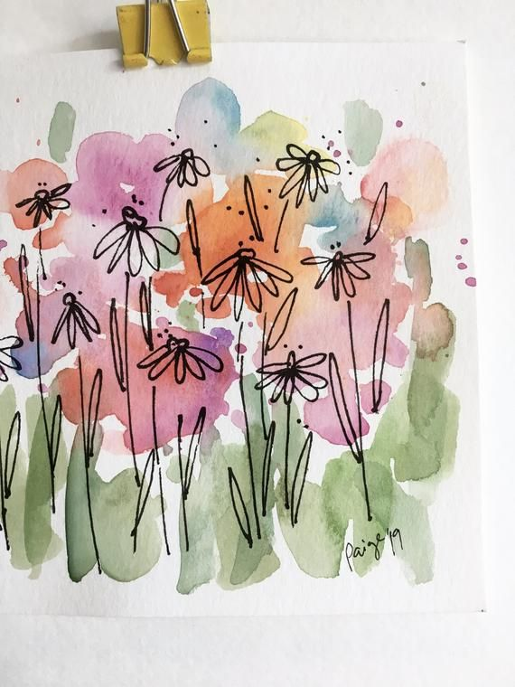 Wildflowers Watercolor and Ink Painting 5x5- Original