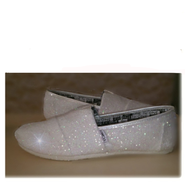 Womens Sparkly White or Ivory Glitter Toms Flats shoes bridal Bride Wedding  Comfortable - Glitter Shoe Co 8f2338dfbf