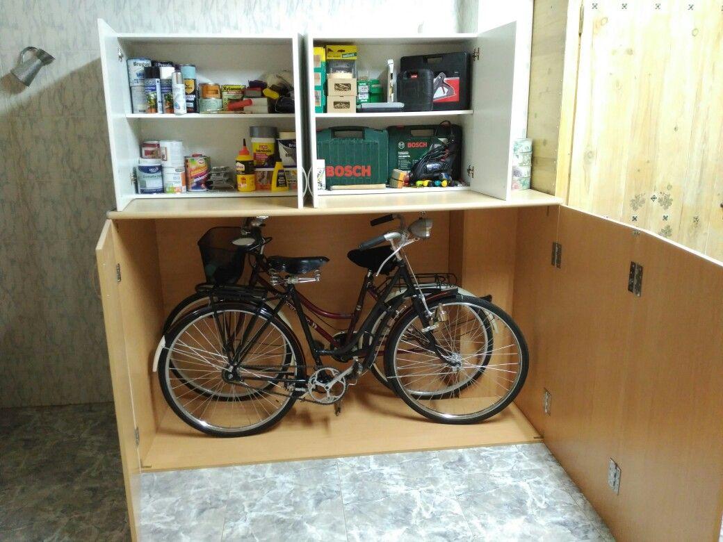 He Hecho Este Mueble Para Guardar Las Bicis Y Encima Para Guardar  # Muebles Bicicleta