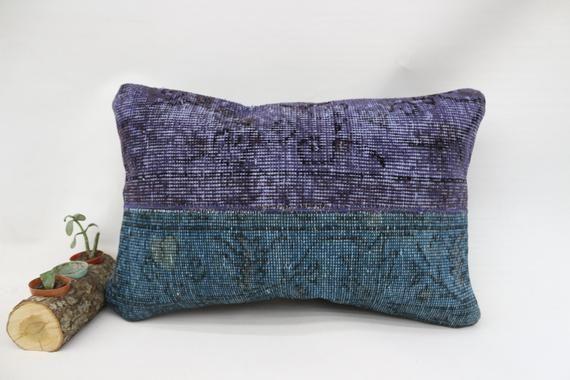 Antibacterial Pillow, Home Decor Pillow, Rug Pillow 16x24, Overdyed Pillow, Traditional Pillow, Pill