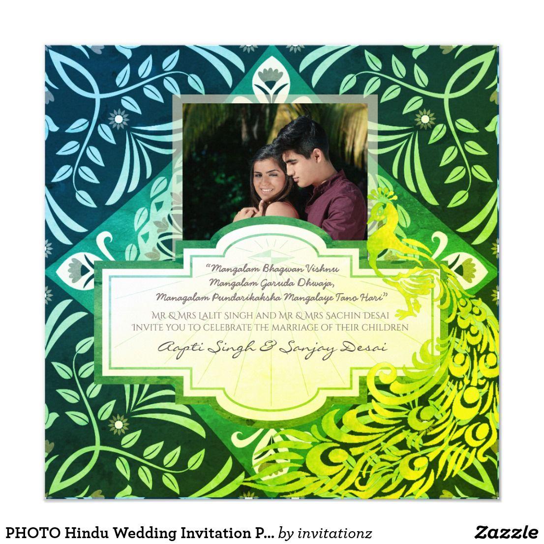 Photo Hindu Wedding Invitation Peacock Green Trending Wedding