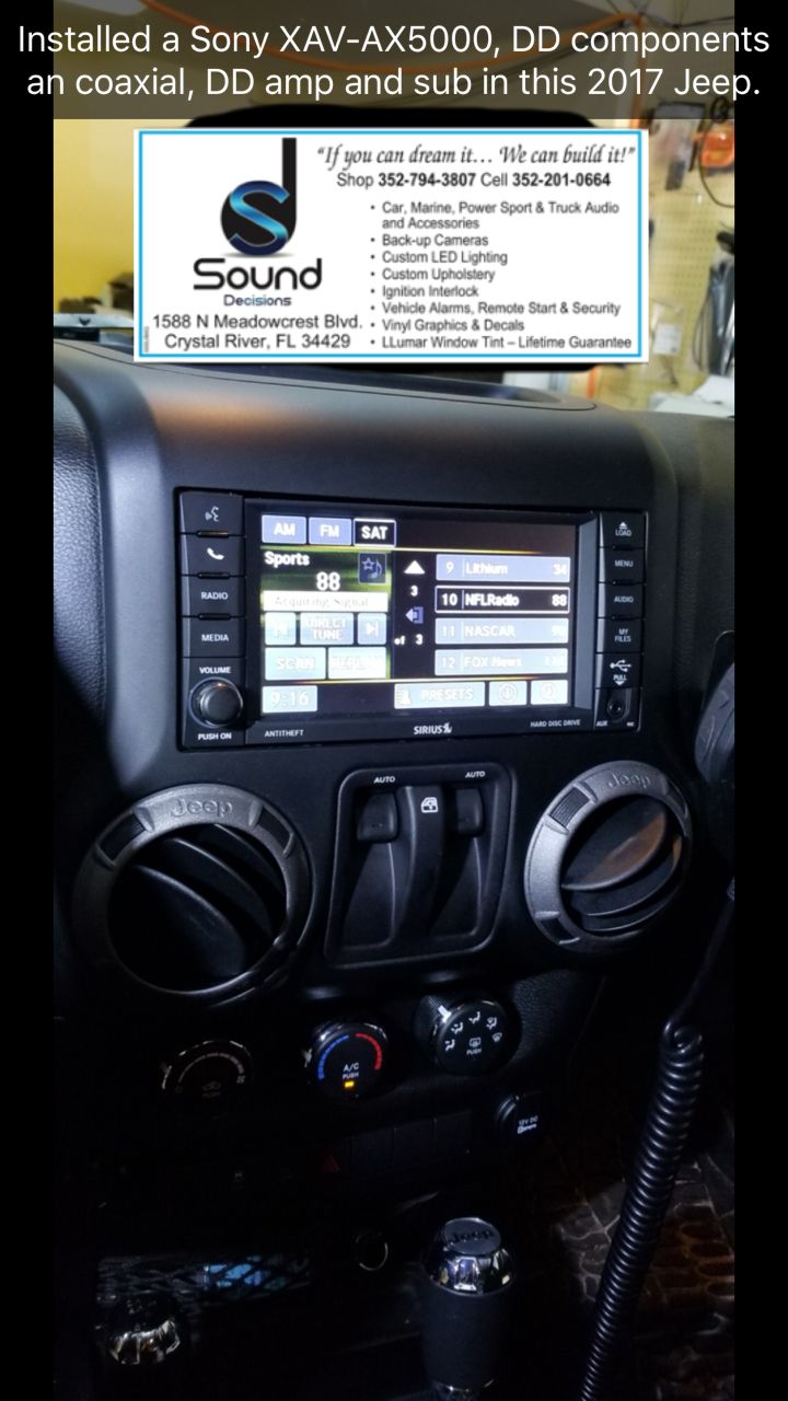 Pin By Sound Decisions On Installed A Sony Xav Ax5000 Dd Components Auto Alarms An Coaxial Amp And Sub In This 2017 Jeep Pinterest