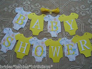 10 bunting flags banners garland baby shower yellow unisex diy decor
