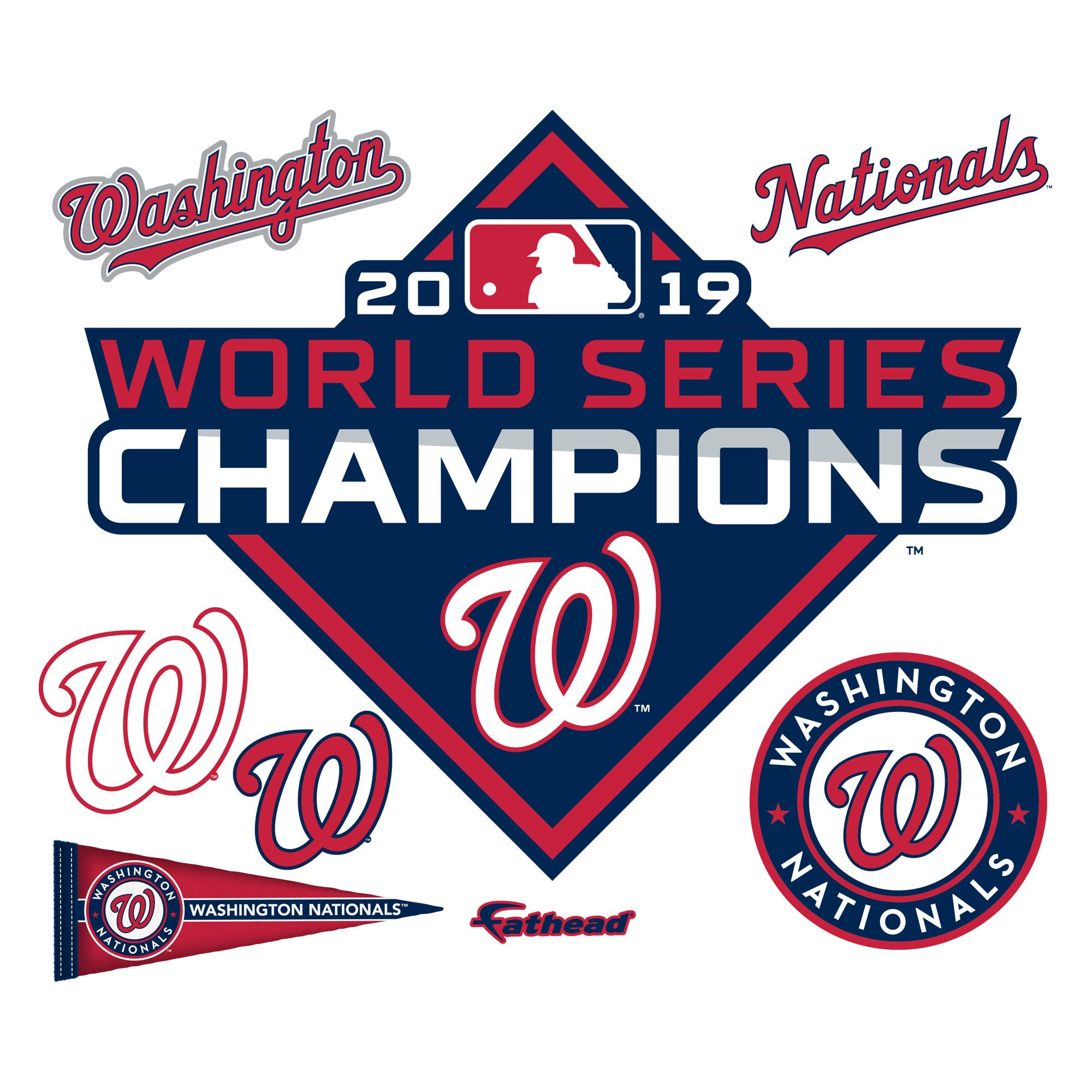 Washington Nationals 2019 World Series Champions Logo Giant Officially Licensed Mlb Removable Wall Decal Washington Nationals World Series Washington