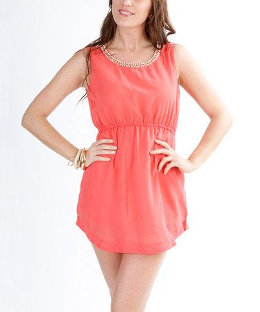 Loving this Coral Beaded Dress on #zulily! #zulilyfinds