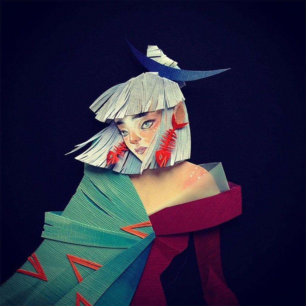 Avec de simples papiers morgana façonne de mystérieux personnages