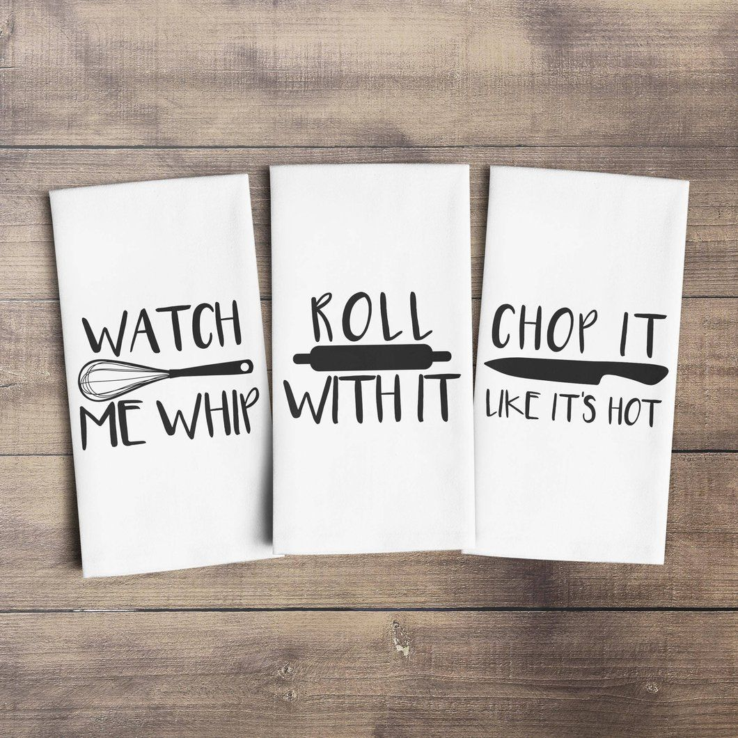 Funny Kitchen Towels | Watch me Whip Tea Towel | Chop it ...