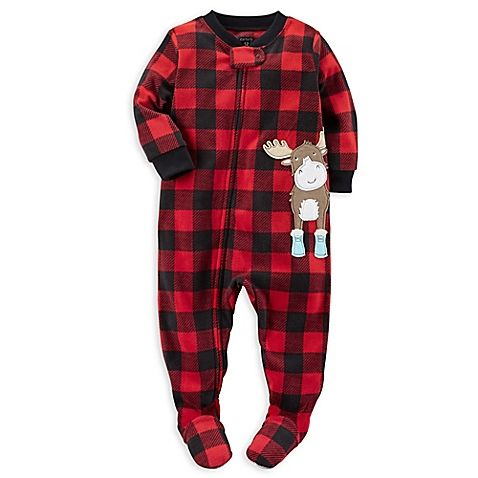 4bc78633589f carter s® Zip-Front Buffalo Plaid Moose Fleece Footed Pajama in Red ...
