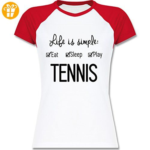 Tennis - Life is simple Tennis - XXL - Weiß/Rot - L195 - zweifarbiges