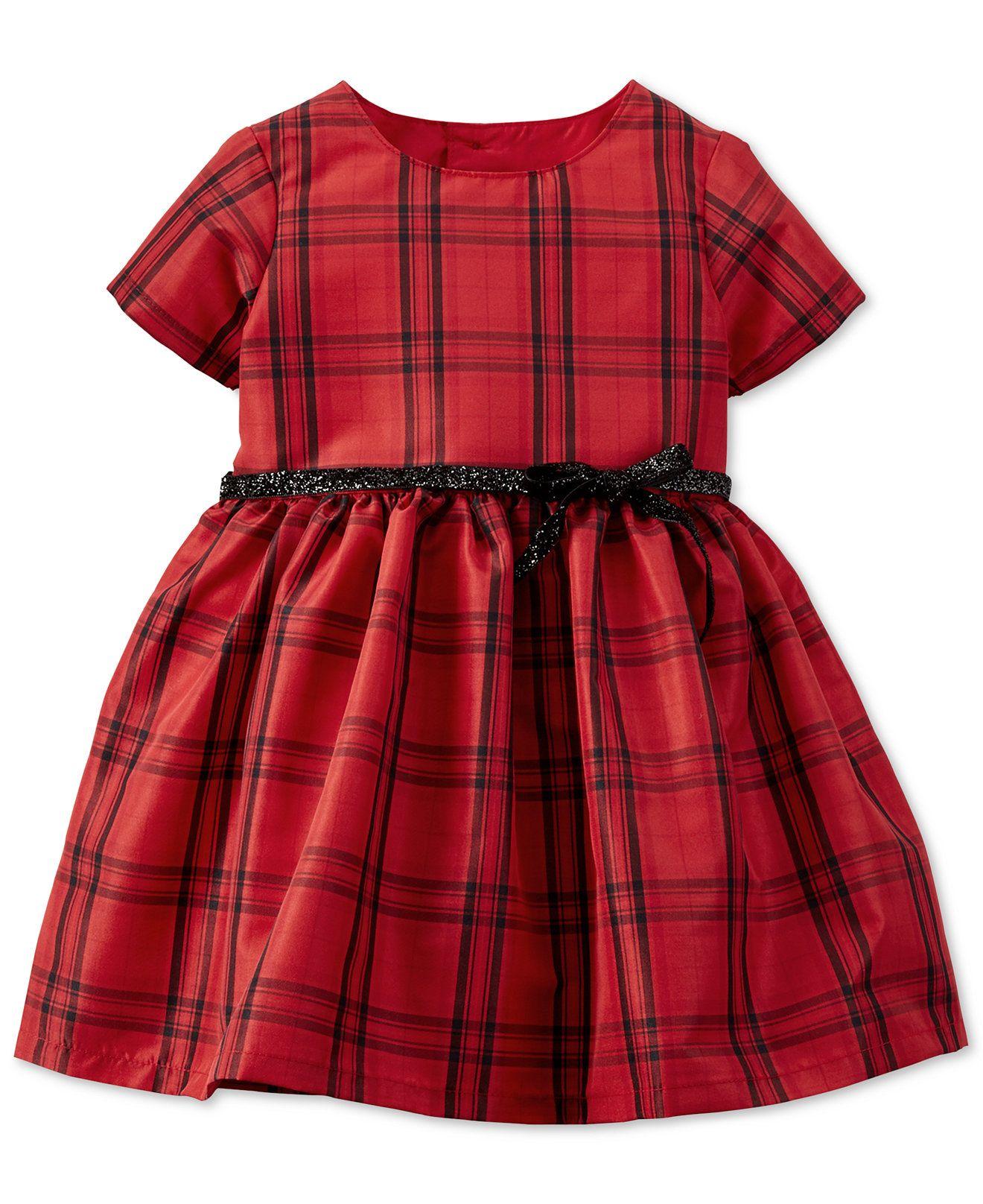 Carters baby girls red plaid taffeta dress dresses