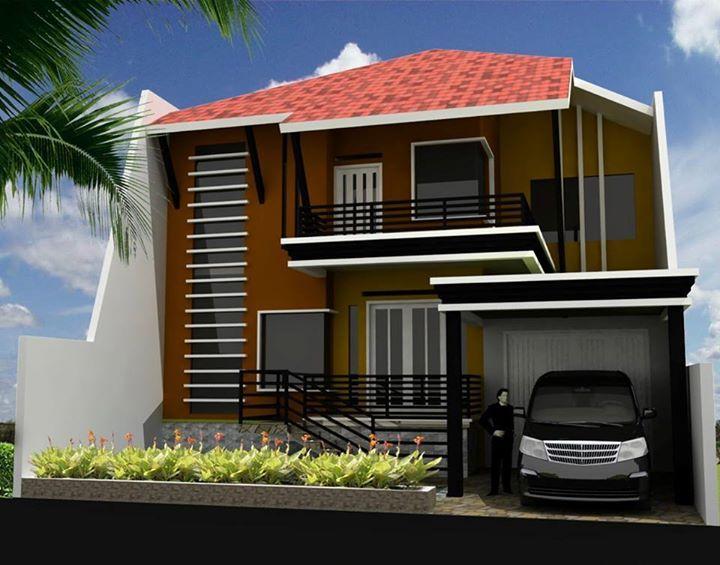 2 lantai warna coklat rumah minimalis fasad desain