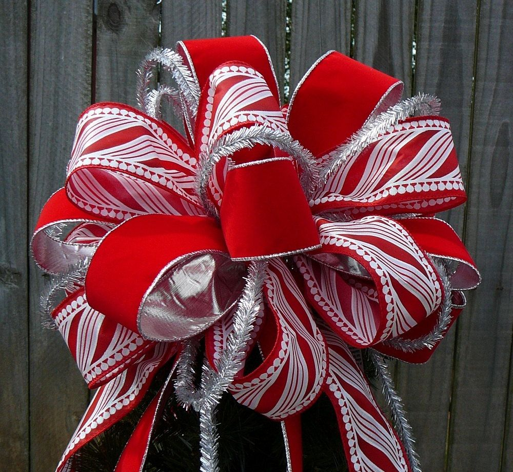 Tree Top Bow for Christmas Large Fun Tree Topper in Red