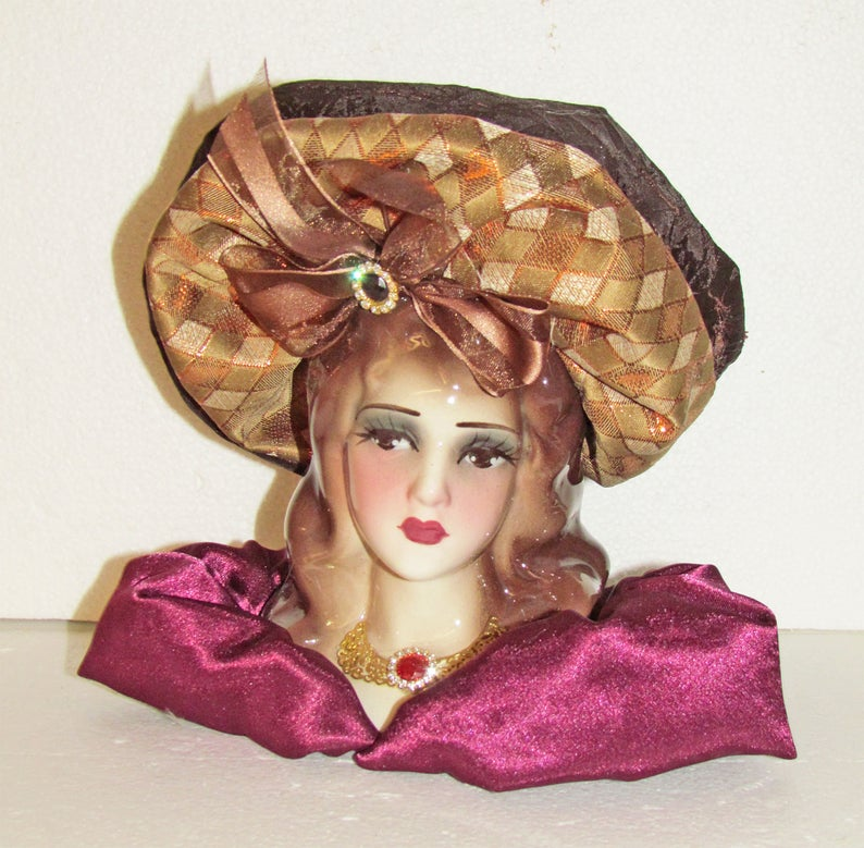 Unique Creations Small 8 Art Deco Lady Doll Bust Head Vase