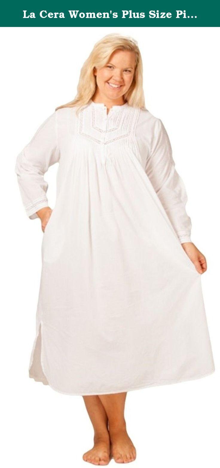 La Cera Womens Plus Size Pintucking Delight Cotton Nightgown 2x