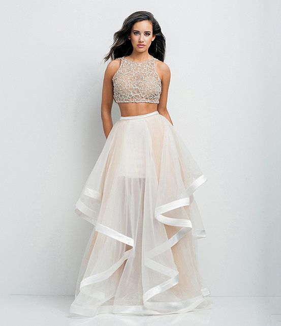 Glamour by Terani Couture Beaded Bodice & Ruffle Skirt Two-Piece ...