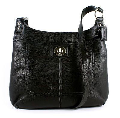 buy cheap  Coach Penelope Leather Hippie Crossbody Handbag Black New,online store:  #wholesalecheaphub.com