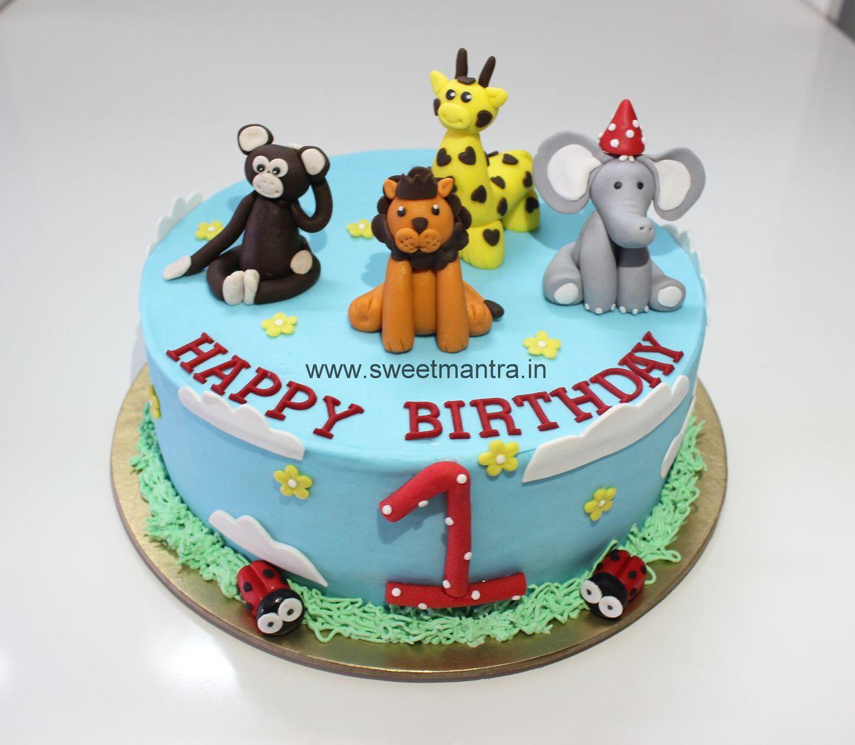 Order Send Eggless Cartoon Kids Theme Birthday Cake Delivery Pune Animal Birthday Cakes Birthday Cake Delivery Jungle Cake