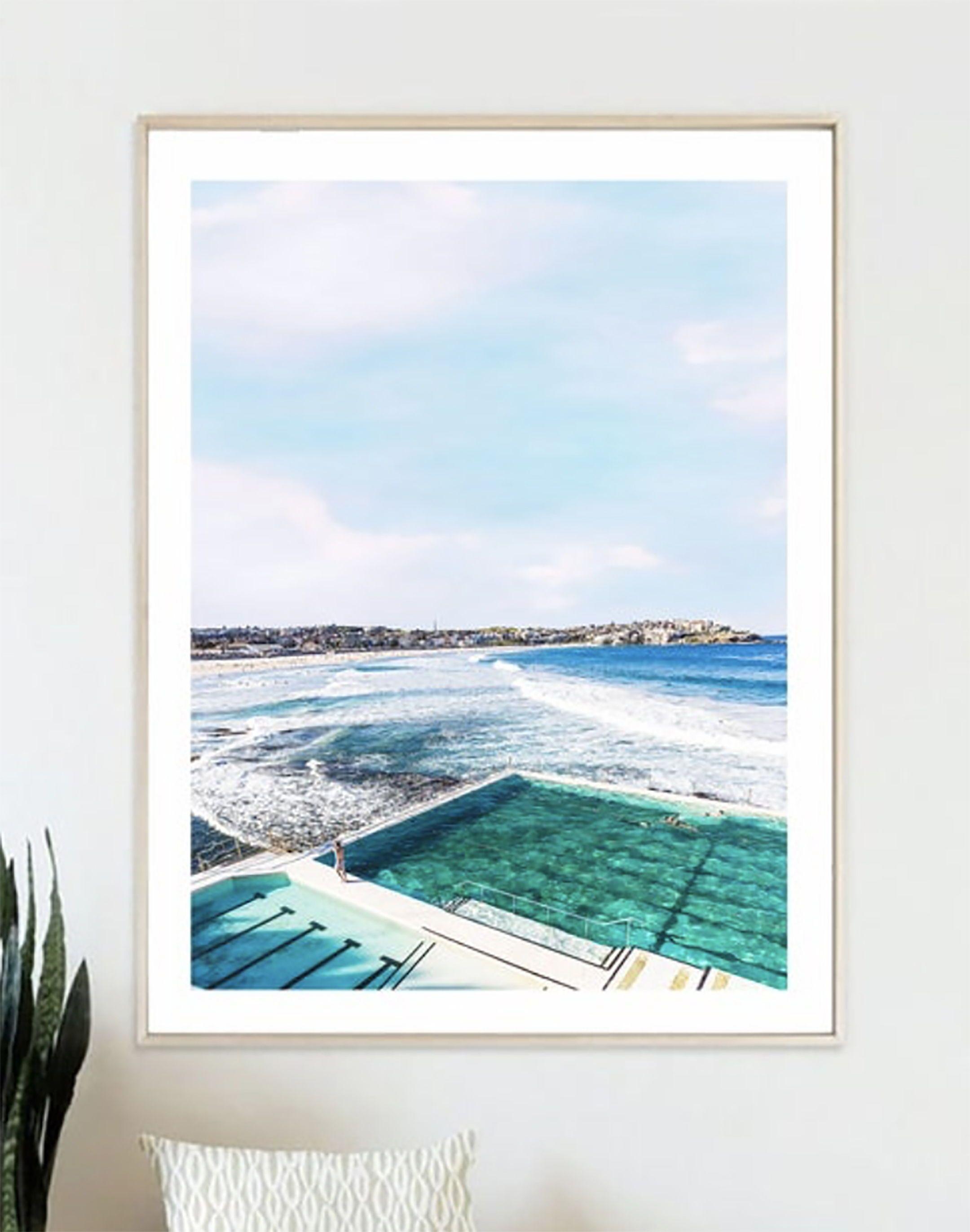 Bondi Beach Print Ocean Pool Decor Ocean Water Art Blue Sea