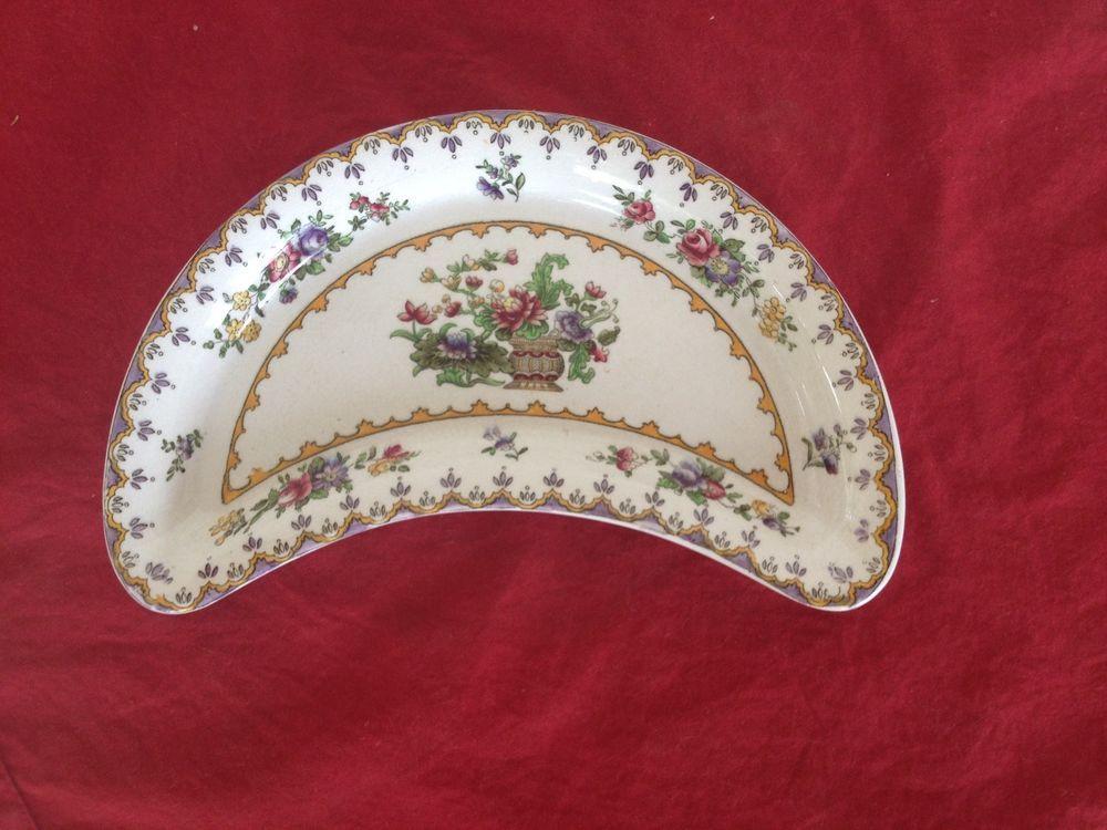 Vintage Harrod S London Copeland Spode Peplow Crescent Half Moon Plate Dish Tableware Transferware Plate Spode