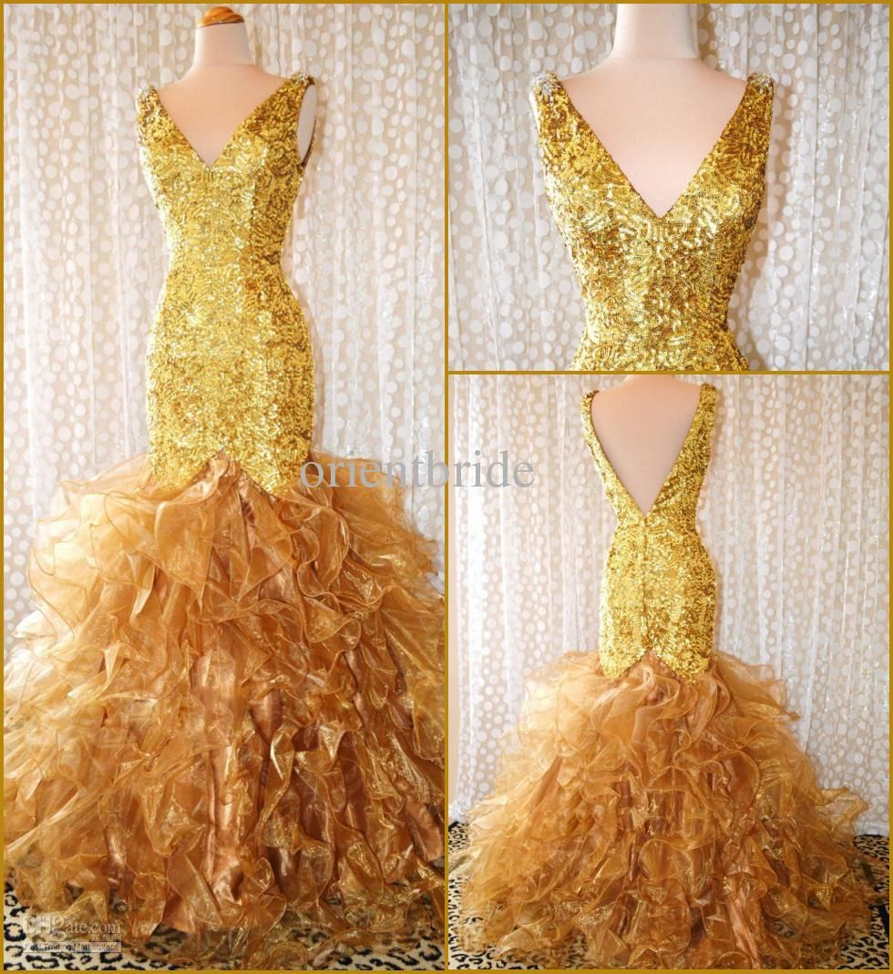 Wholesale Party Dress - Buy Modern Gorgeous V-neck Gold Sequins Ruffle Ball Gown Mermaid Prom Dresses Party Dress Evening Gowns, $380.53 | DHgate.com