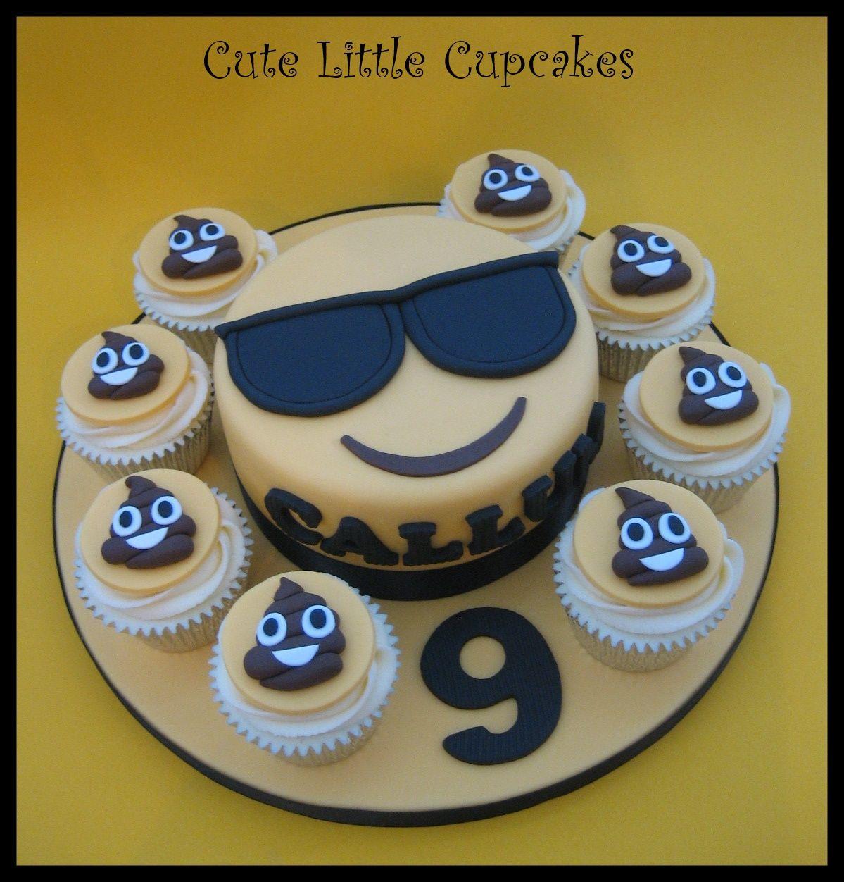6 Classic Vanilla Sunglasses Emoji cake set on an extra large