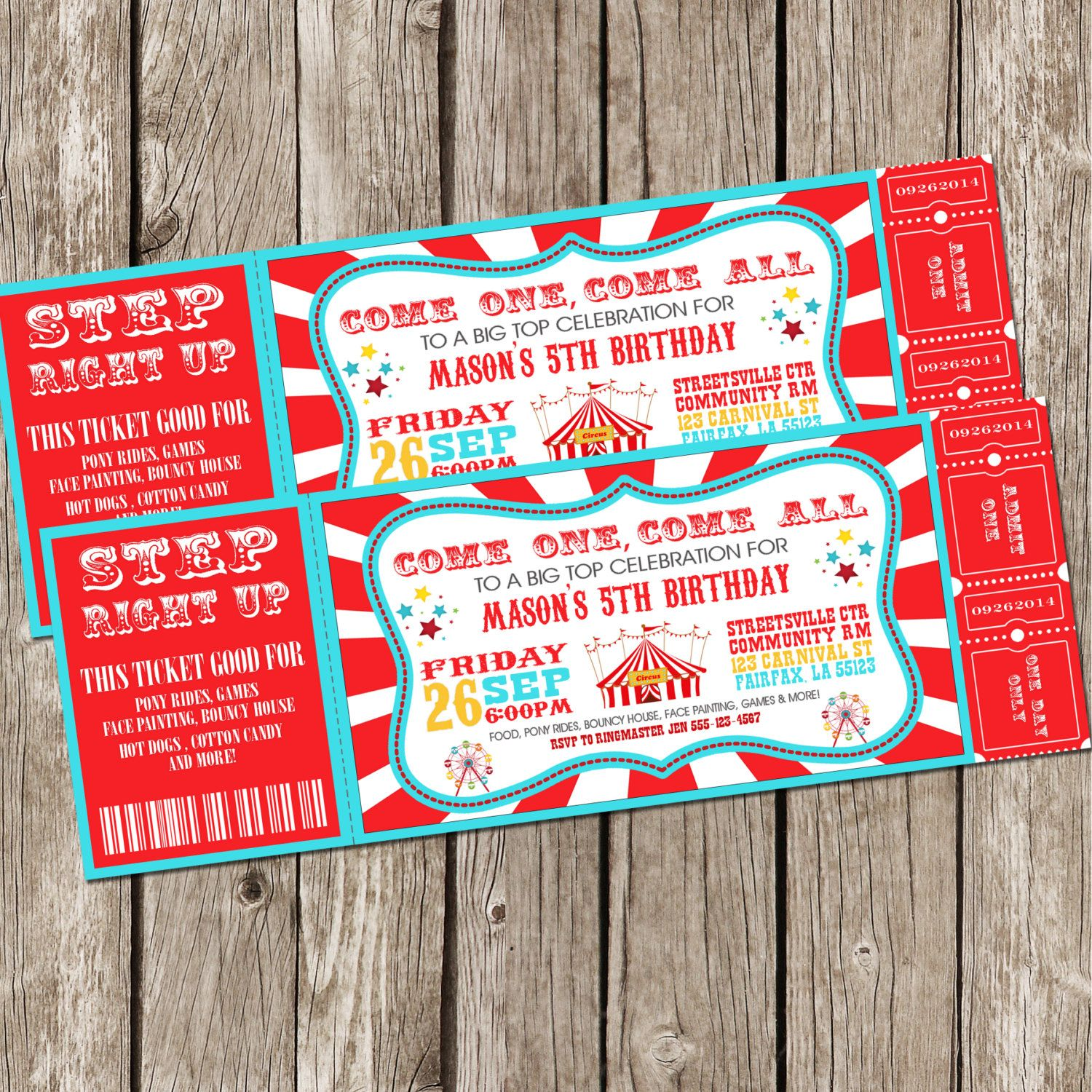 Vintage Circus Carnival Invitation Ticket by LittleMsShutterbug ...