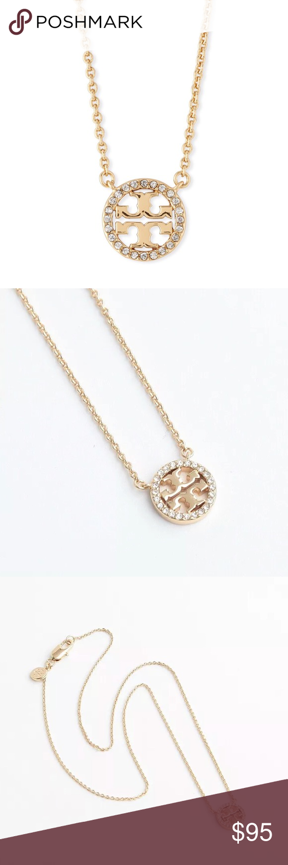 TORY BURCH CRYSTAL CIRCLE LOGO NECKLACE Silver