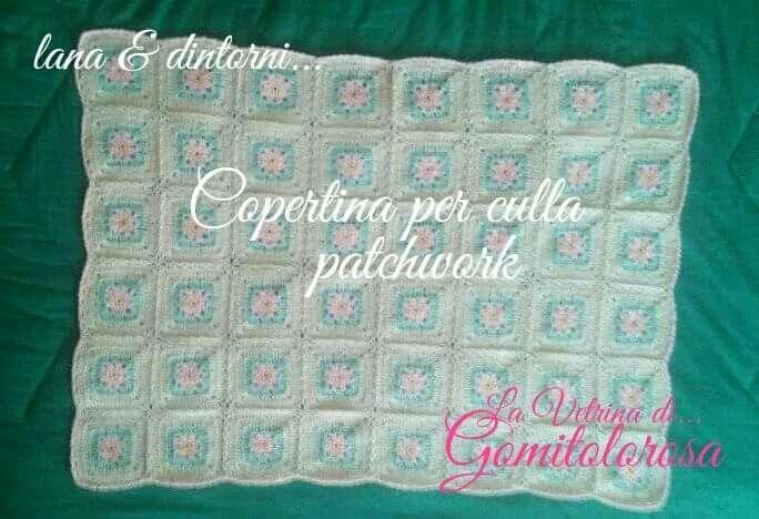 Copertina Per Culla Bimba Patchwork Lavorata Alluncinetto Lana 50