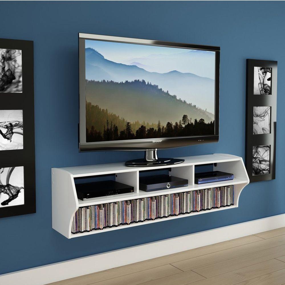 New White Floating Wood Entertainment Center Wall Mounted 58 Tv  # Meuble Paroi Tv