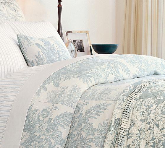 Pottery Barn Porcelain Blue: Matine Toile Duvet Cover & Sham