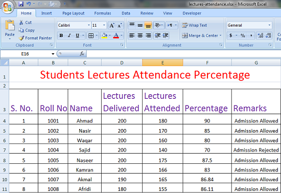 Excel Worksheet for Calculating Lecture Attendance
