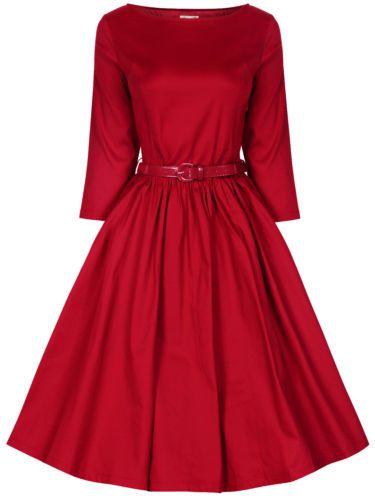 NEW LINDY BOP VINTAGE 1950 S SWING ROCKABILLY AUDREY HEPBURN 3 4 SLEEVE  DRESS  b72c49d03
