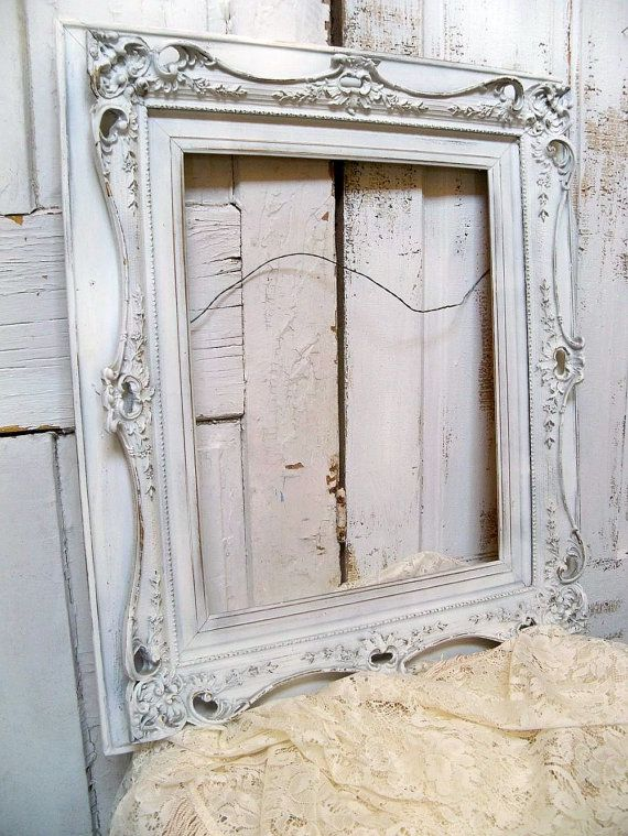 Large white carved wood frame Shabby chic ornate hand painted very ...