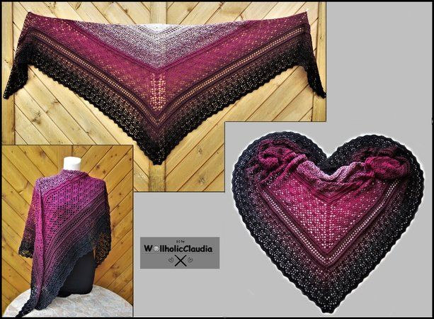 'Grande Abbraccio' in Italian means 'Generous Embrace' - which is exactly what this gorgeous shawl will feel like. It measures 2.15 m x 0.9 m (2.35 x 0.98 yd) and wraps around you like a hug. This beautiful shawl can be worn in many different ways