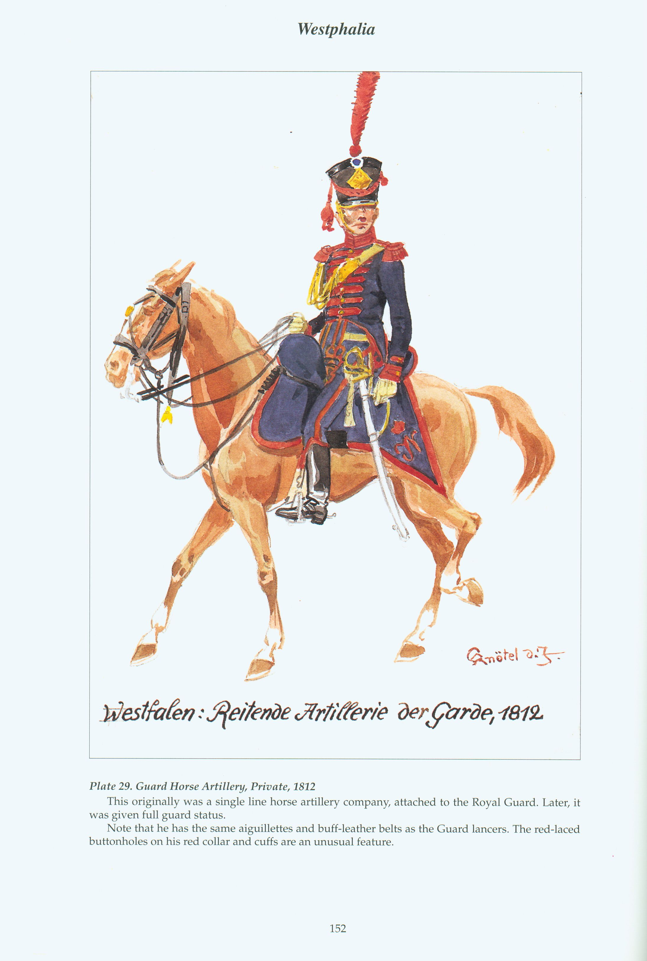 The Confederation of the Rhine - Westphalia: Plate 29. Guard Horse Artillery, Private, 1812