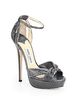 London Fashion Week Essentials - Jimmy Choo Greta Snakeskin Platform Sandals #jimmychoo #LFW
