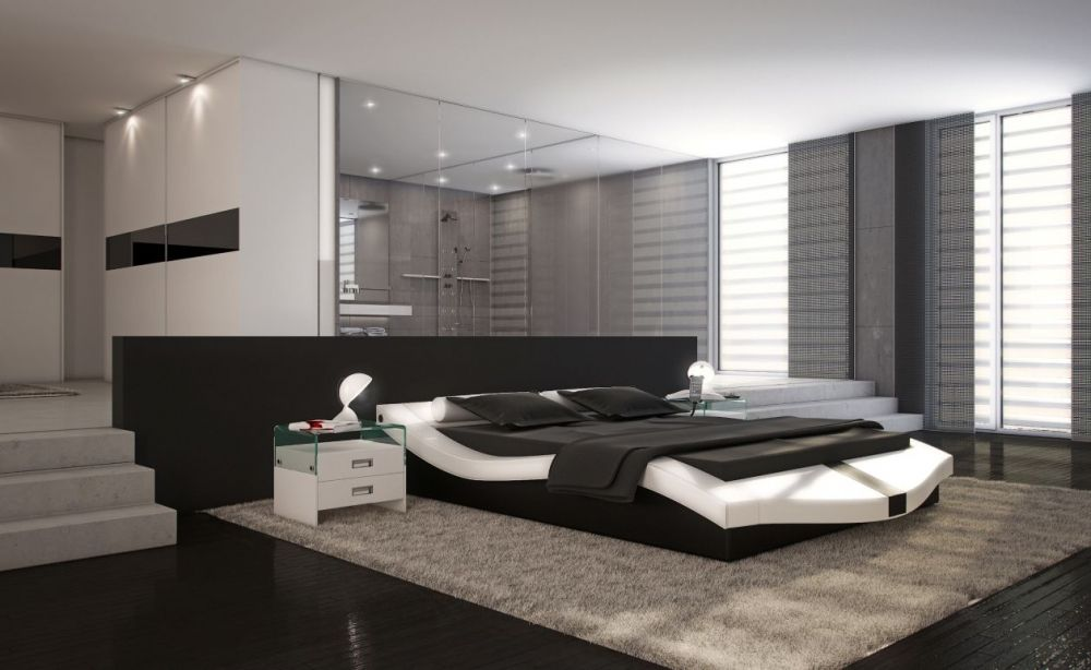 doppelbett kunstlederbett marini 180x200 weiss schwarz deko pinterest. Black Bedroom Furniture Sets. Home Design Ideas
