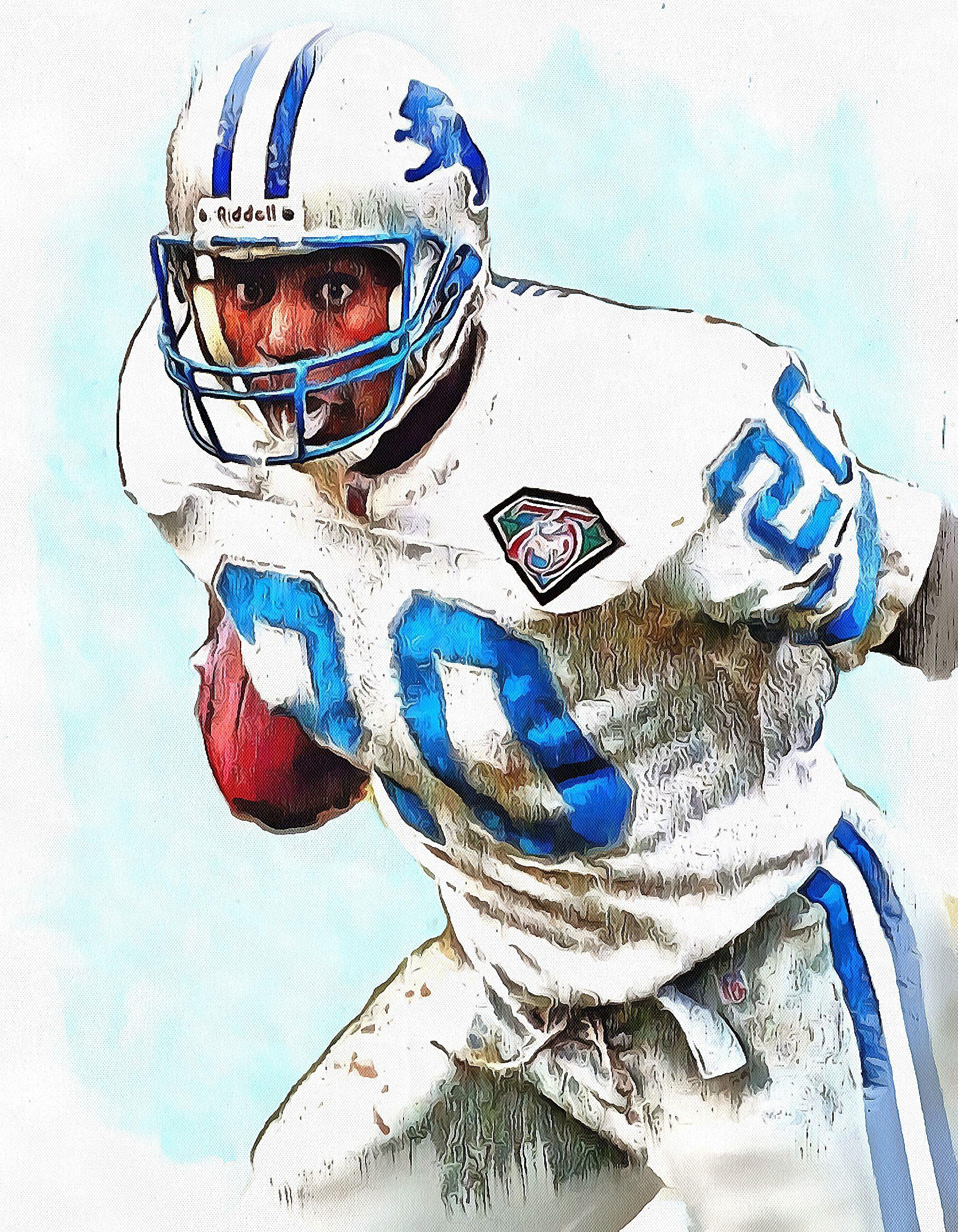 Barry Sanders Nfl Football Helmets Nfl Detroit Lions Nfl Detroit Lions Football Helmets Nfl Football Art