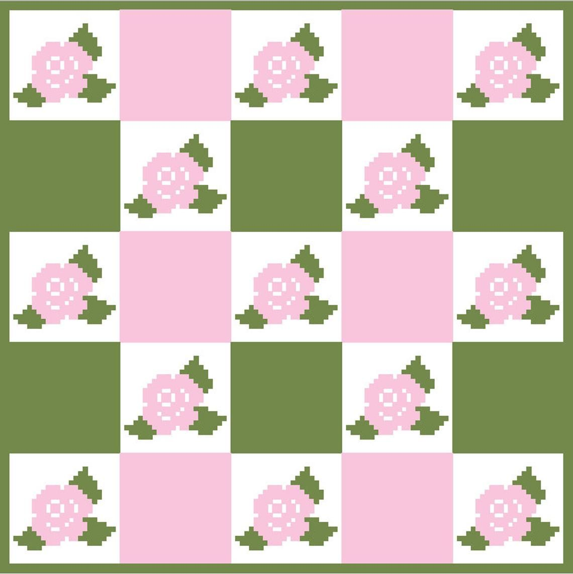 Rose Pattern C2c Crochet Pattern Blanket Instant