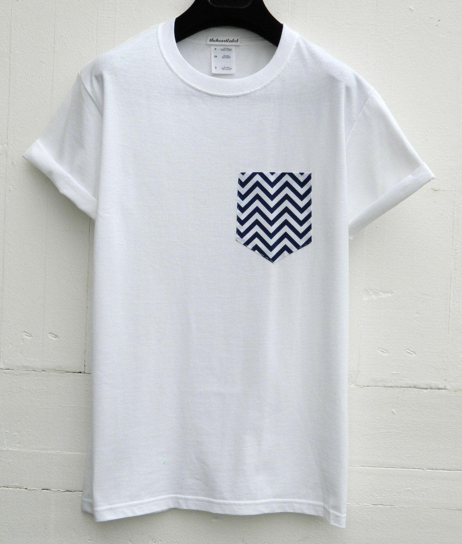 Mens Navy And White Chevron Pattern White Pocket T Shirt Mens T