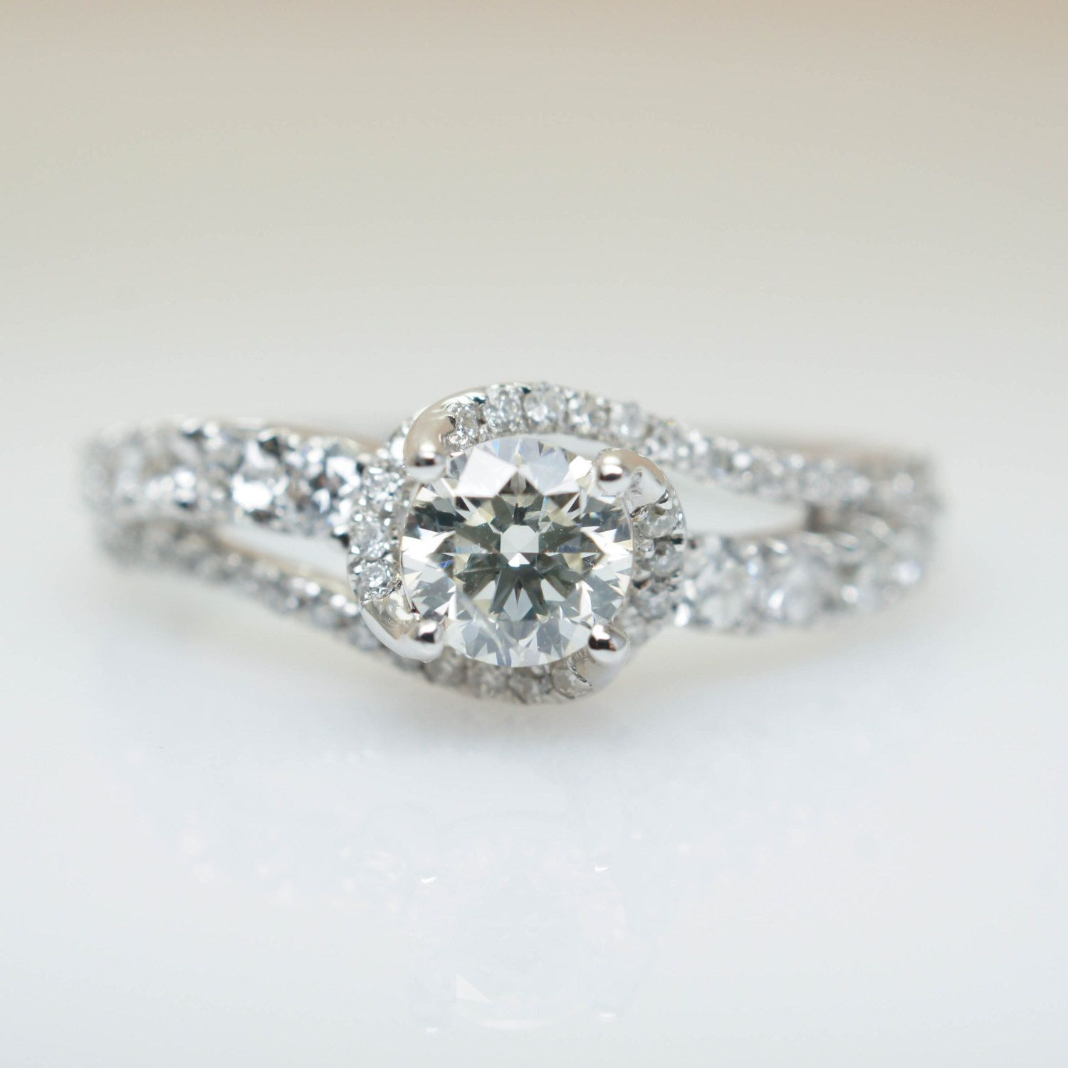 Beautiful Intricate Swirl Diamond Engagement Ring 14k White Gold Wedding  Jewelry Open Weave Delicate Engagement Ring